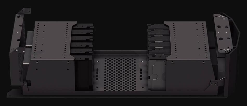 Expansion unit showing hard drives configuration