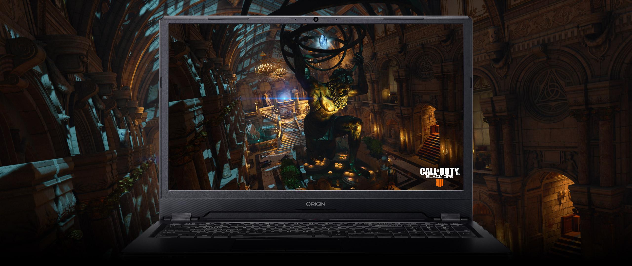 evo16-S custom gaming laptop running Call of Duty: Black Ops 4