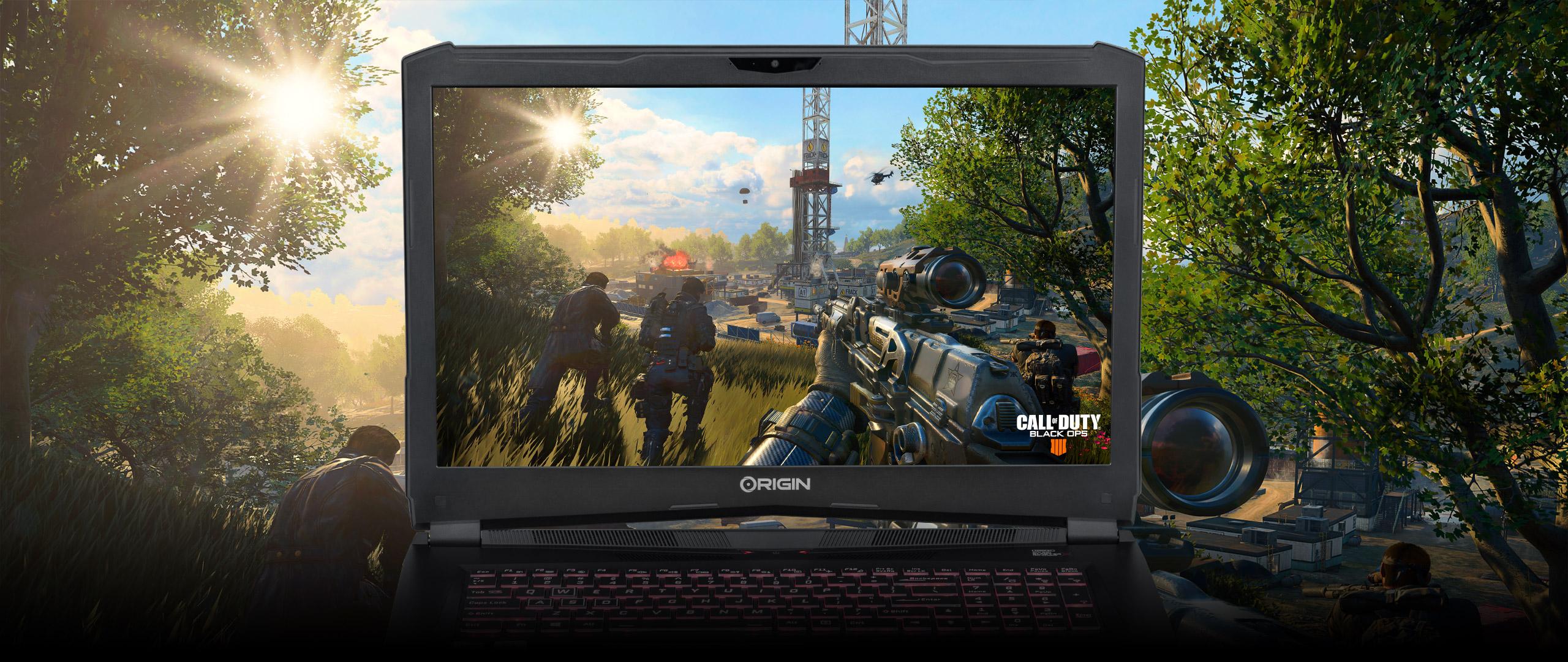 EVO17-S custom gaming laptop running Call of Duty: Black Ops 4