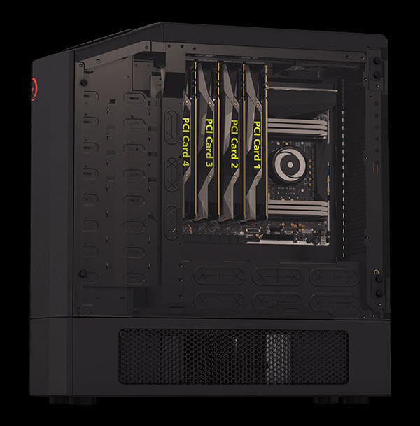 90-Degree Inverted Orientation with 4 way SLI Graphics Cards
