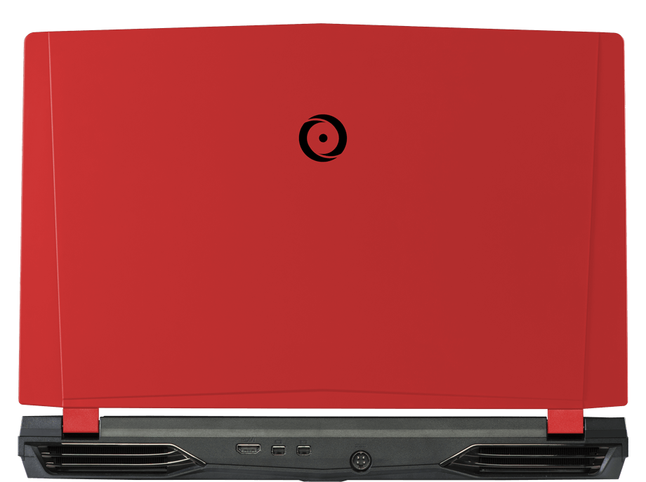 Back view of EON15-X Pro with traditional red panel