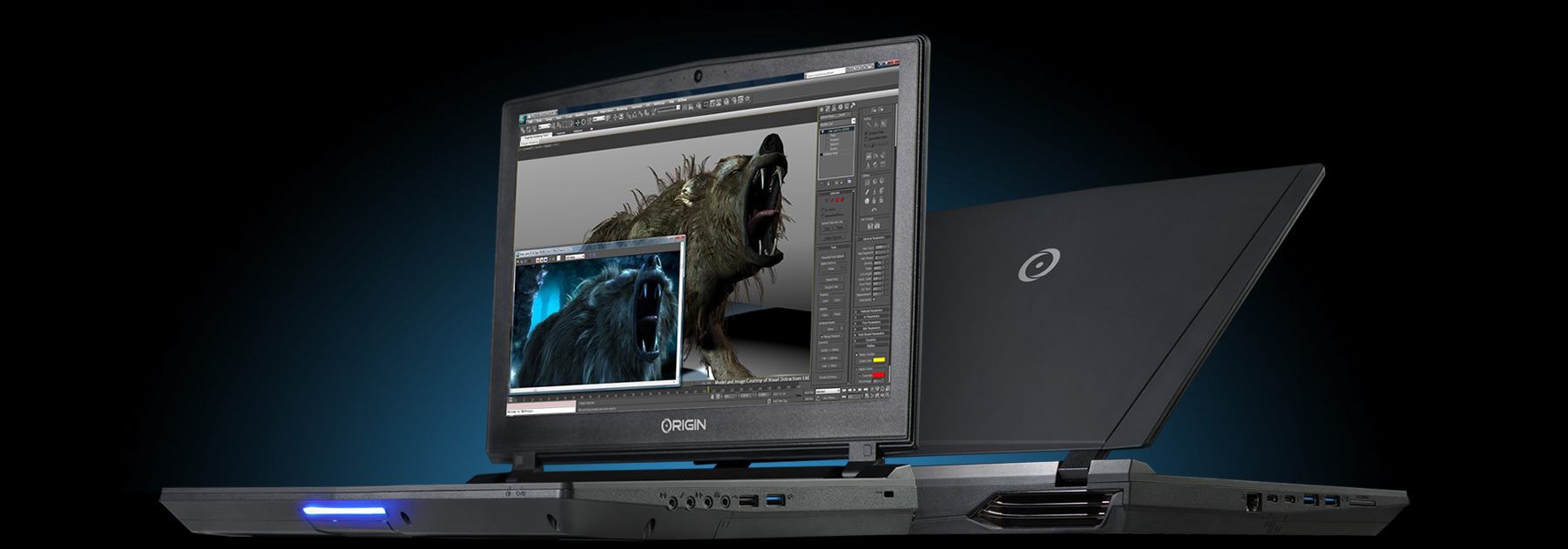 EON15-X Pro showing photoshop and maya