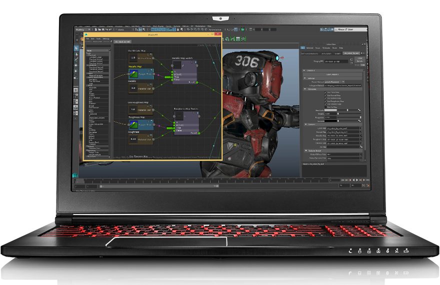 Top view of EVO15-S Pro with 3D program screenshot on desk with coffee mug and sketch drawing