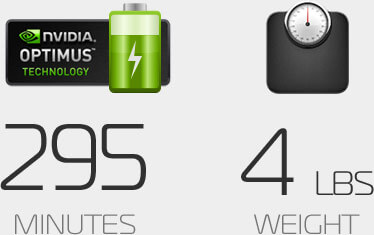 NVIDIA Optimus Badge with Battery and Weight Icon